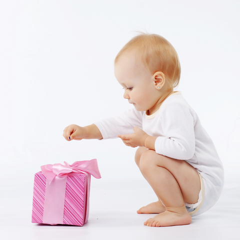 Baby with gift