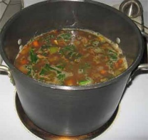 Pot of winter soup