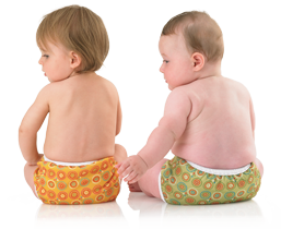 Babies in Bummis cloth diaper covers