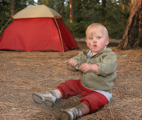 Baby Camping near tent