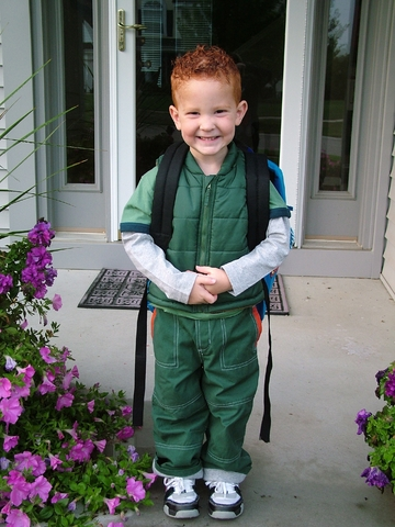 Excited for the first day of kindergarten.