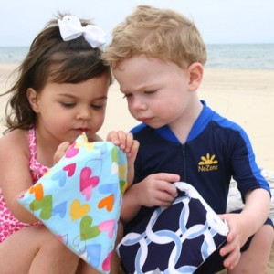 Children with Itzy Ritzy Reusable Snack bags