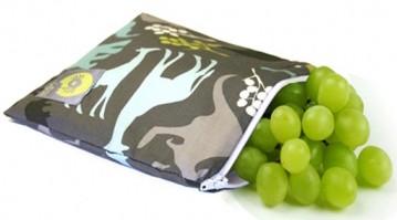 Itzy Ritzy snack bag in blue urban jungle