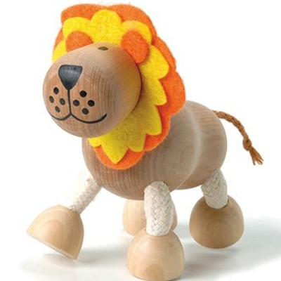 Anamalz wooden lion posable toy