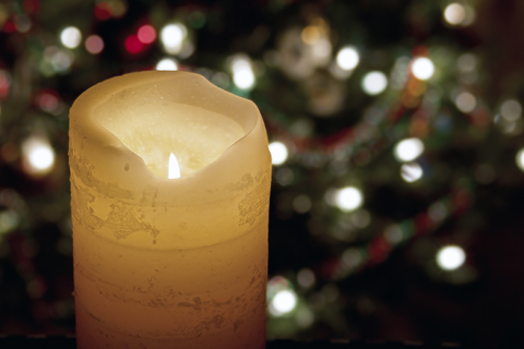 Holiday candle and lights