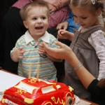 Toddler at his birthday party