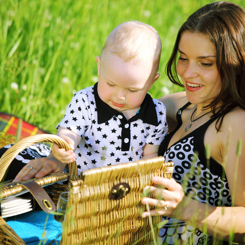 Mother and baby on a picnic