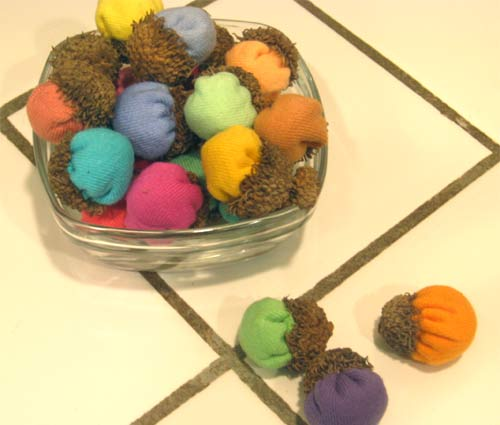 Colorful cotton acorn decorations