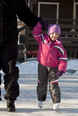 Child learning to ice skate