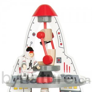 Wooden toy spaceship with wooden figures