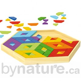 Rainbow mosaic wooden puzzle