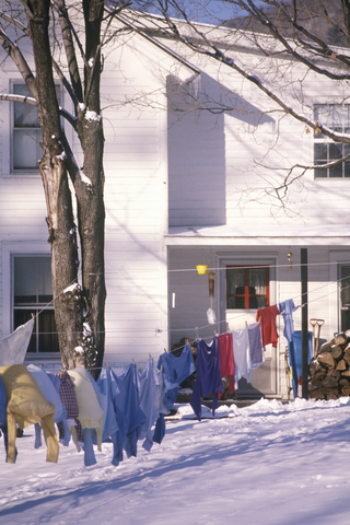 Drying clothes outside in the snow