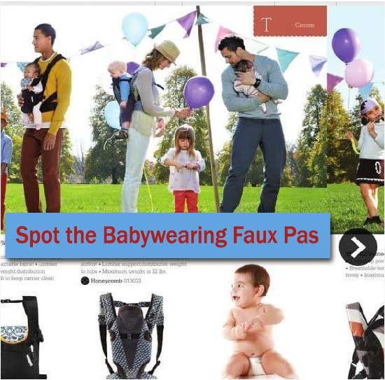 Babywearing mistake in advertising photo