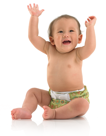 Baby wearing Bummis cloth diaper