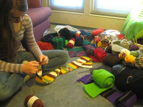 Knitting scarves as Holiday gifts
