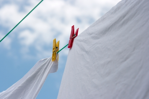 Cloth diapers drying on the line