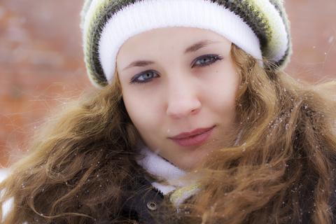 Woman in Winter Wind