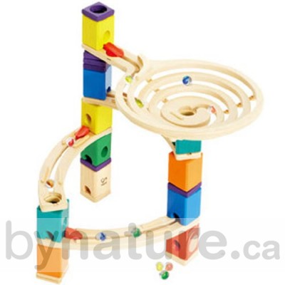 Natural wooden marble run toy
