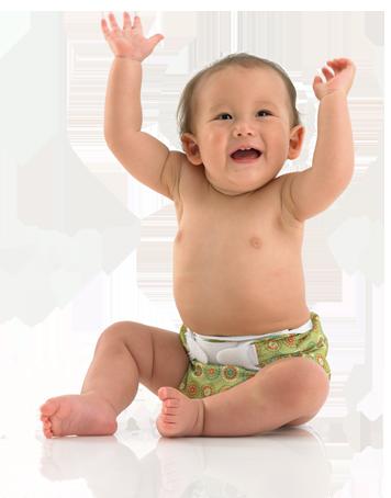 Baby wearing Bummis cloth diaper