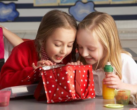 Two kids looking inside a lunch bag