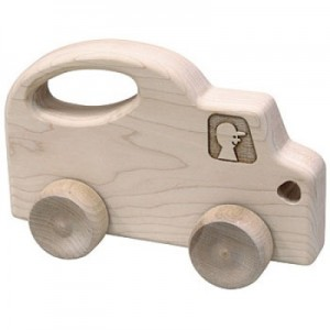 Wooden truck roll toy